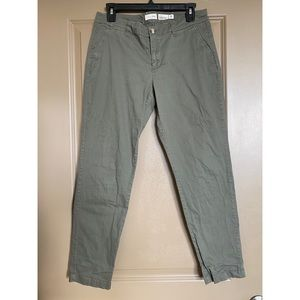 Maison Jules Tapered Olive Green Chinos